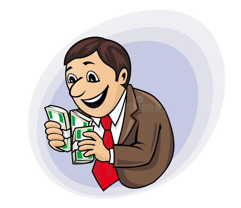 Affärsman med pengar stock illustrationer