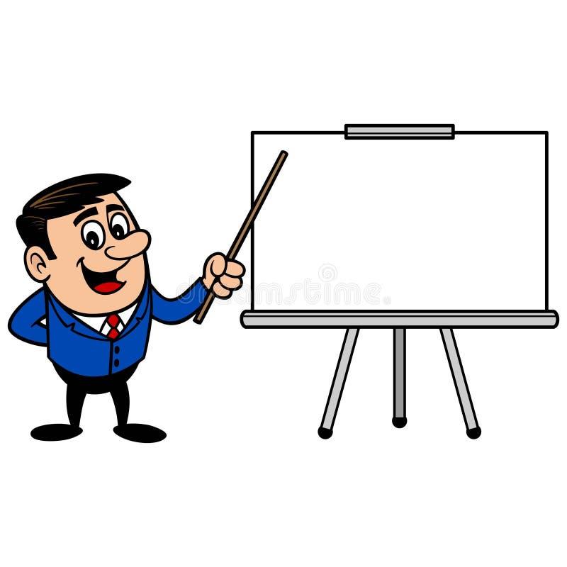 Affärsman med presentationsskärmen royaltyfri illustrationer