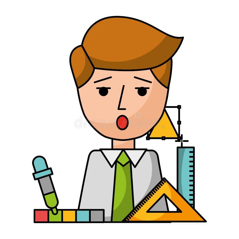 Affärsman med regler och symboler vektor illustrationer