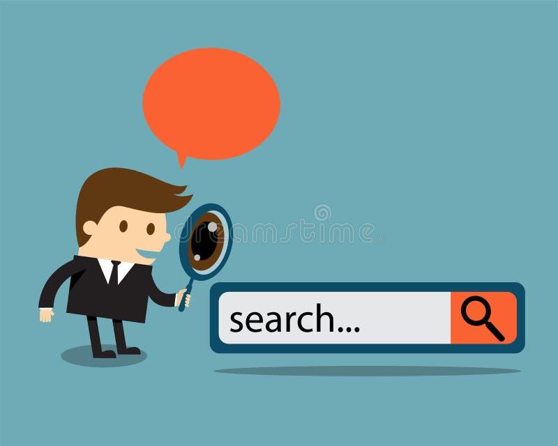 Affärsman med sökandemotorknappen royaltyfri illustrationer