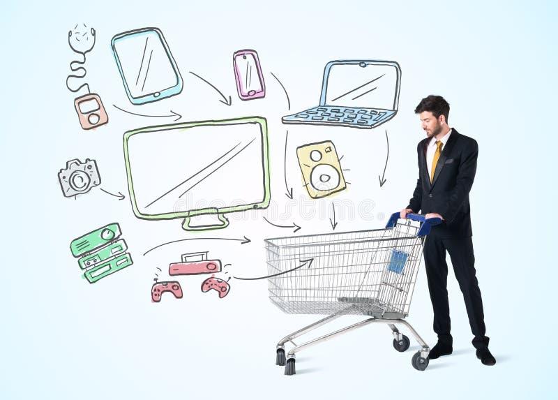 Download Affärsman Med Shoppingvagnen Arkivfoto - Bild av konsument, affär: 78729890