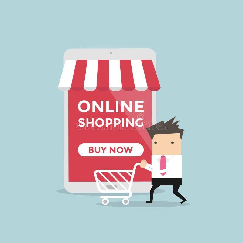 Affärsman med shoppingvagnen framme av online-lagret stock illustrationer