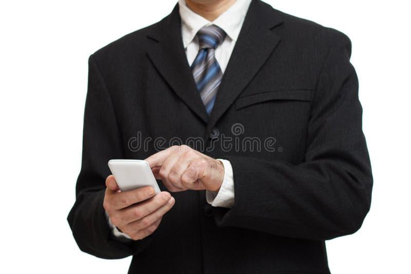 Affärsman med smartphonen royaltyfria foton
