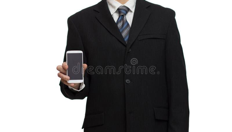 Affärsman med smartphonen royaltyfria bilder