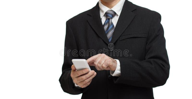 Affärsman med smartphonen royaltyfri bild