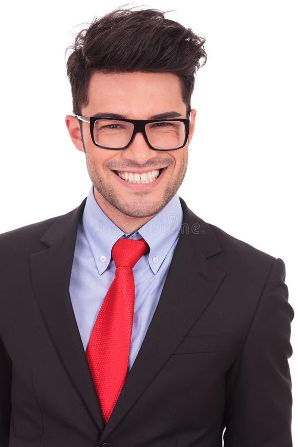 Affärsman med stort leende arkivfoton
