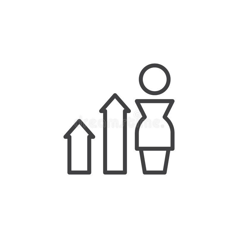 Affärsman med symbolen för översikt för diagrampiltillväxt stock illustrationer