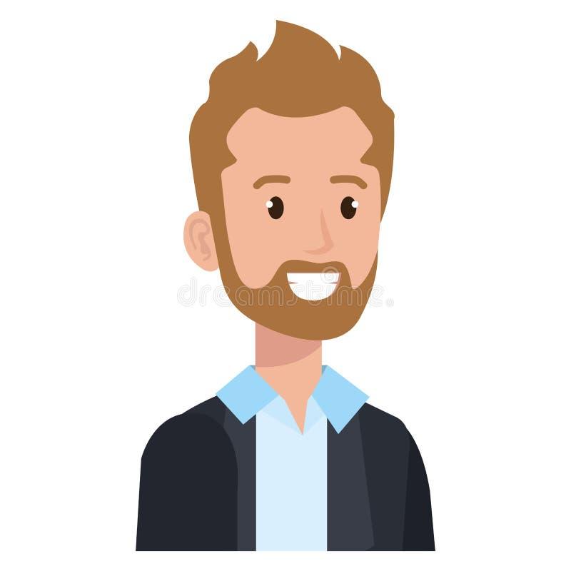 Affärsman med symbolen för skäggavatartecken vektor illustrationer