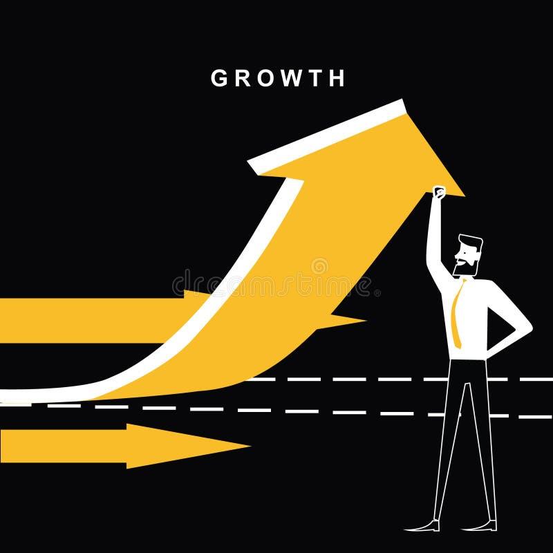 Affärsman med tillväxtpilen som uppåt går royaltyfri illustrationer