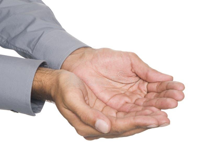 Affärsman med tomma händer royaltyfri foto