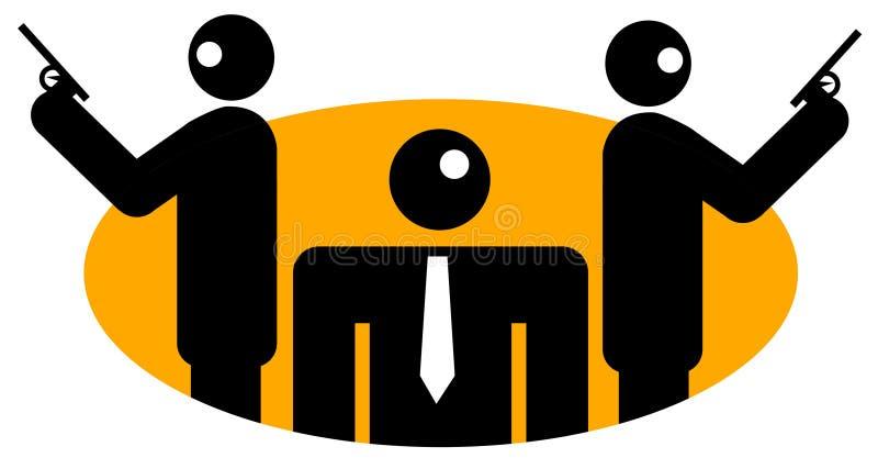 Affärsman med två ordningsvakter royaltyfri illustrationer