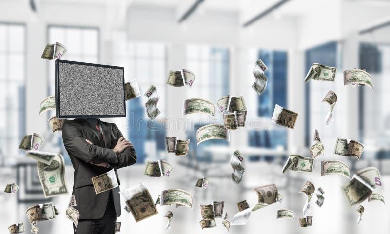 Affärsman med TV i stället för huvudet royaltyfria bilder