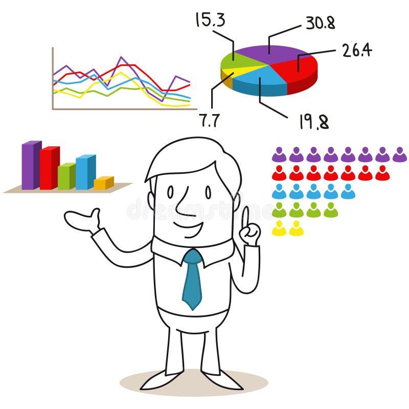 Affärsman med valresultat och diagram stock illustrationer