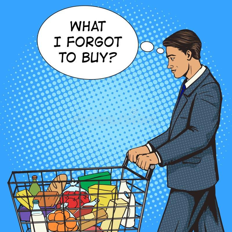 Affärsman med vektorn för konst för pop för shoppingvagn stock illustrationer