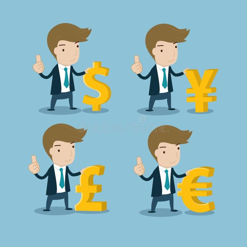 Affärsman med viktiga valutasymboler vektor illustrationer