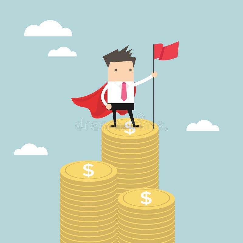 Affärsman med vinnareflaggaanseende på pengarmynt stock illustrationer