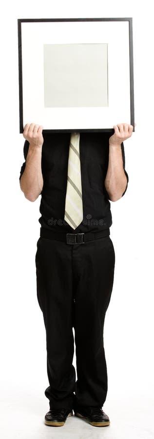 Affärsman med vitpanelen arkivfoto