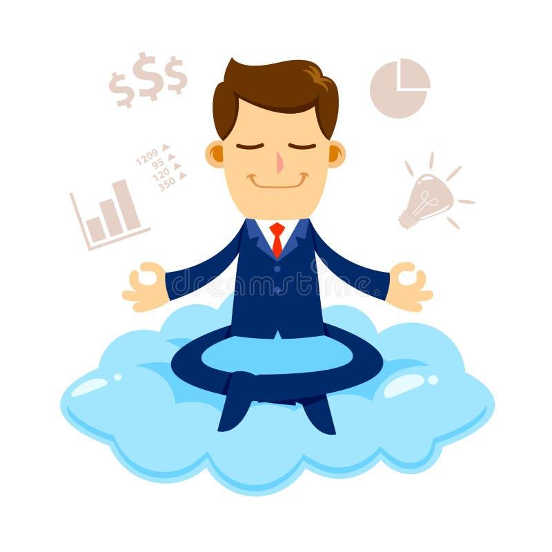 Affärsman Meditating On ett moln med finansiella symboler omkring stock illustrationer