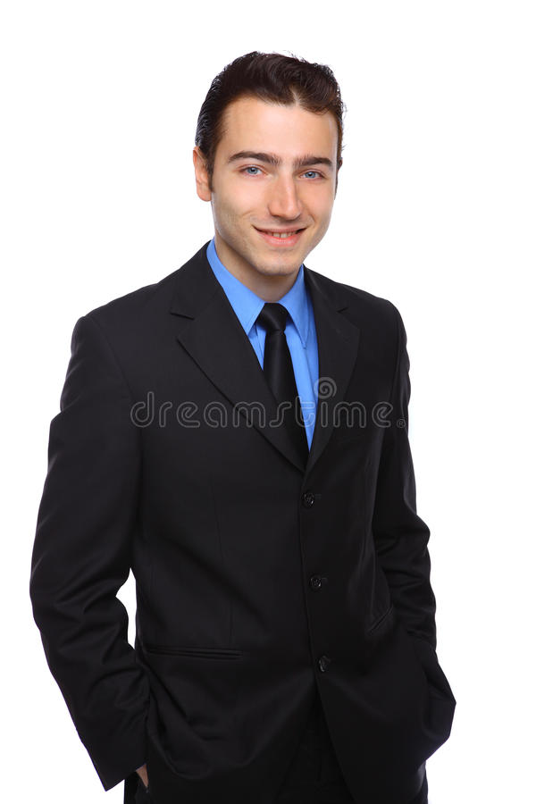 Affärsman mot en vit bakgrund royaltyfria foton