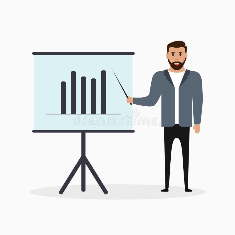 Affärsman nära skärmbräde med pekaren i hand Begrepp av det affärspresentationen, seminariet, utbildning eller rapporter vektor vektor illustrationer