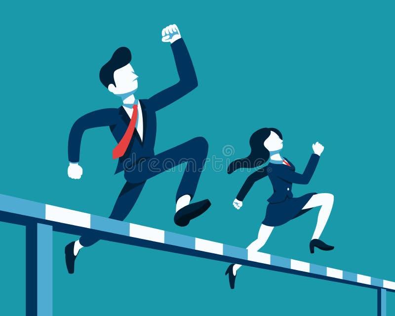 Affärsman och affärskvinna för affärsidévektorillustration som hoppar över häckloppet vektor illustrationer