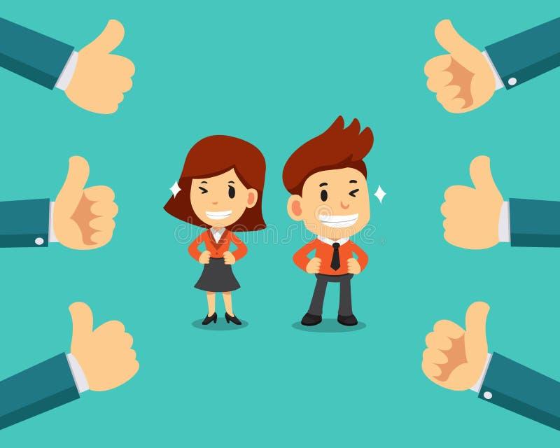 Affärsman och affärskvinna för vektortecknad film lycklig med många händer för tummar upp royaltyfri illustrationer