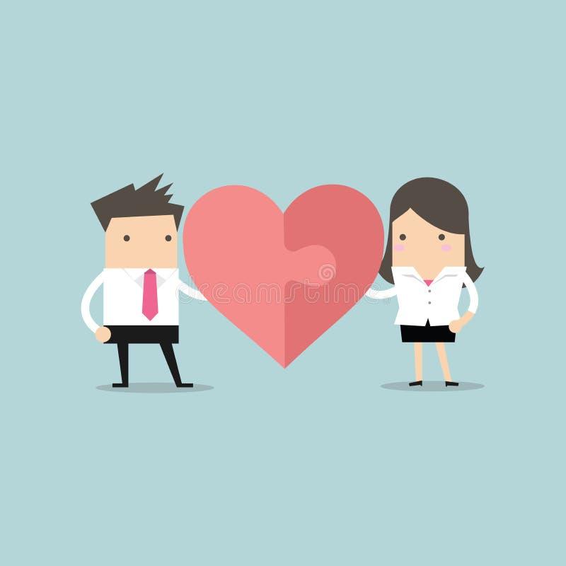 Affärsman och affärskvinna med hjärtapusslet Ordet FÖRÄLSKELSE som stavas med paperclips på en grungy svart bakgrund royaltyfri illustrationer