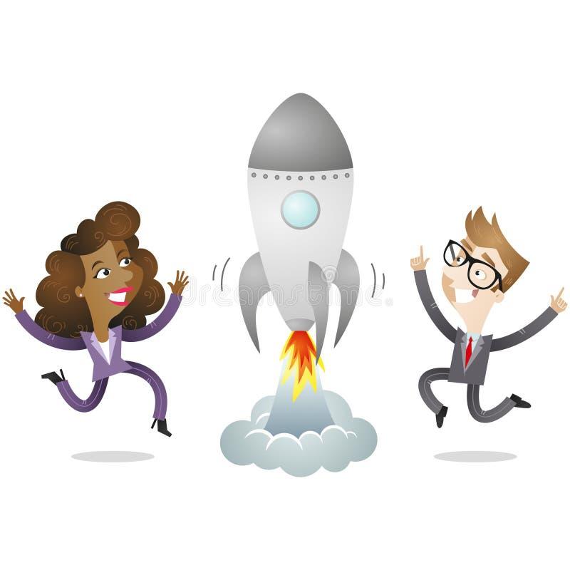 Affärsman och affärskvinna med raket royaltyfri illustrationer