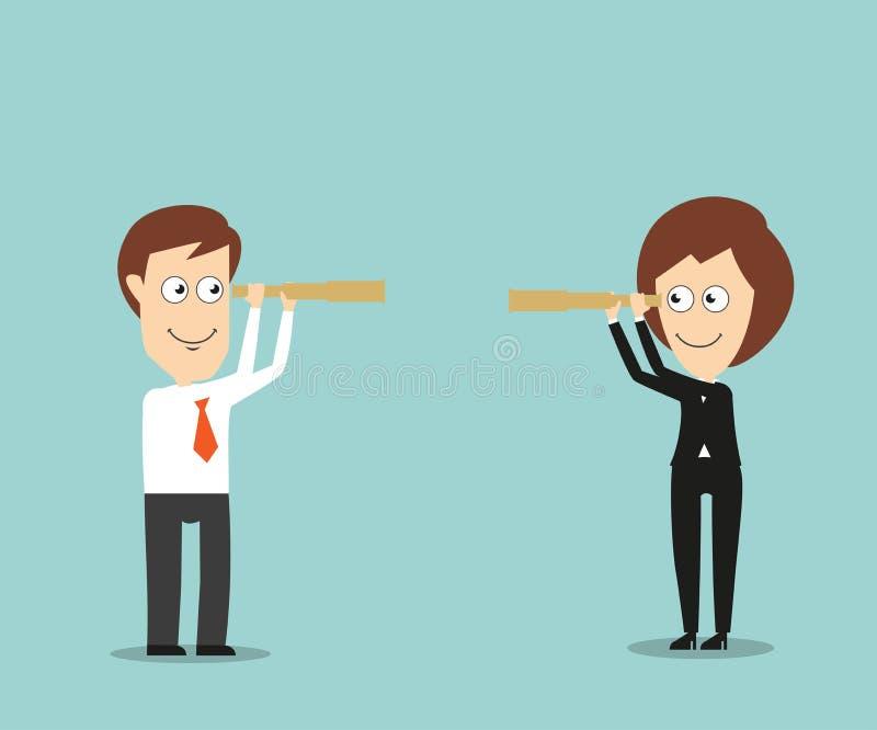Affärsman och affärskvinna med spionexponeringsglas vektor illustrationer