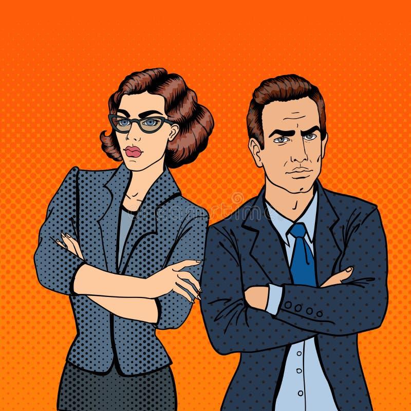 Affärsman och affärskvinna Popkonst vektor illustrationer