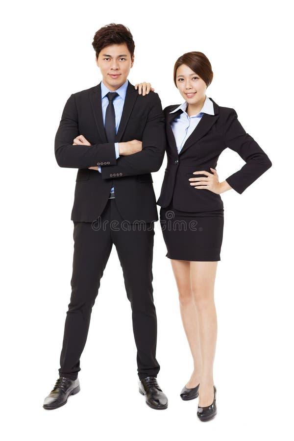 affärsman och affärskvinna som isoleras på vit arkivfoto