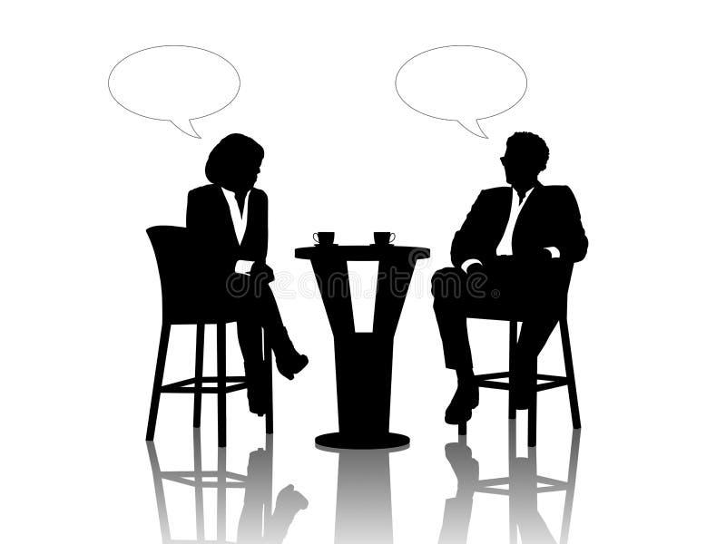 Affärsman och affärskvinna som talar på tabellen som dricker cof royaltyfri illustrationer