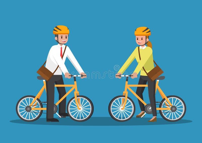 Affärsman- och affärskvinnaridningcykel vektor illustrationer