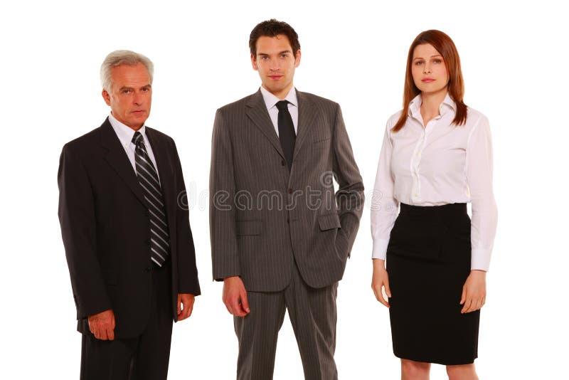 Affärsman- och affärskvinnastanding arkivfoto