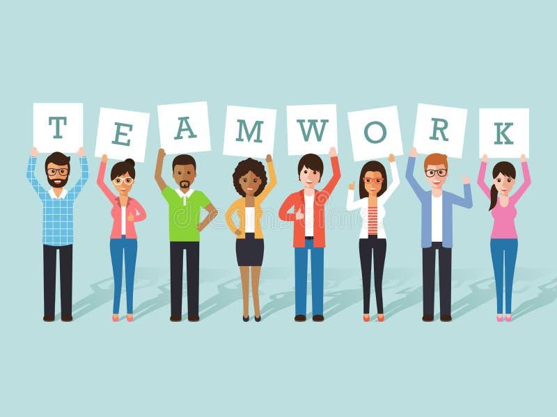 Affärsman- och affärskvinnateamwork royaltyfri illustrationer