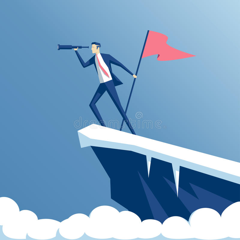 Affärsman och berg stock illustrationer