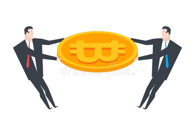 Affärsman och bitcoin Aktievinst Crypto valutamynt Vec royaltyfri illustrationer
