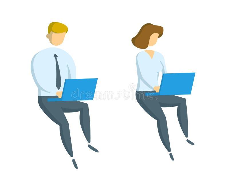 Affärsman och businesslady arbete på bärbara datorn Kontor, affär och kommunikation Plan vektorillustration stock illustrationer