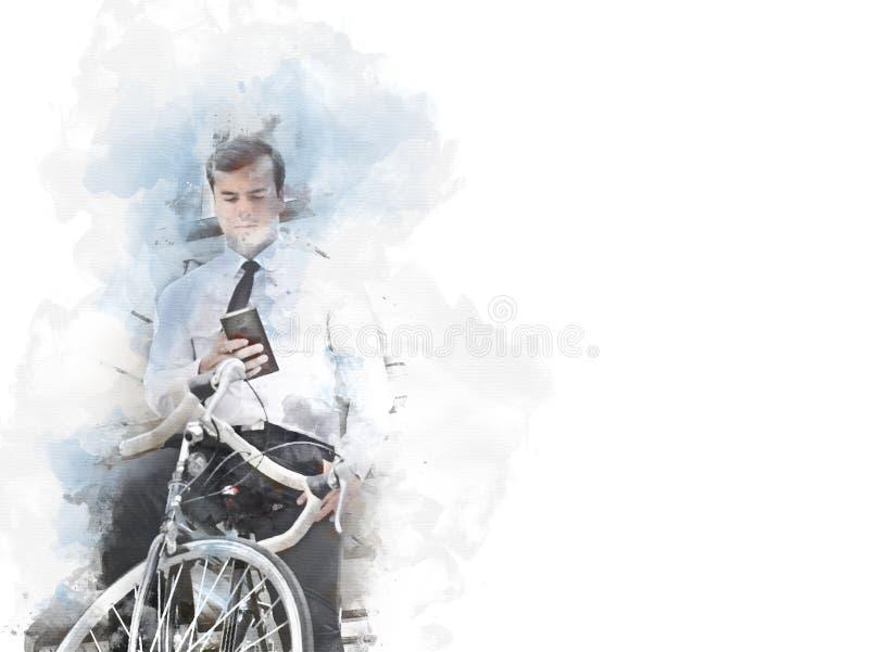Affärsman och cykel som går på gatavattenfärg royaltyfri bild