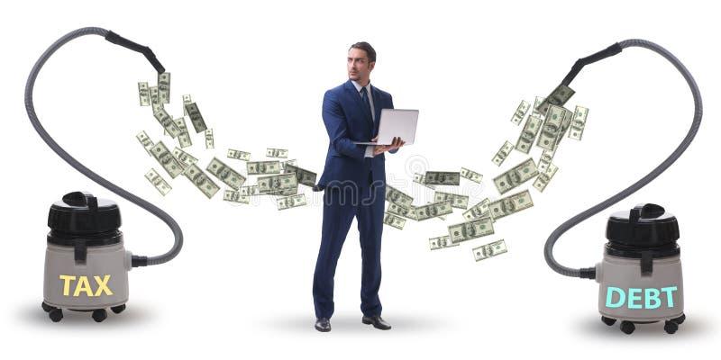 Affärsman och dammsugare som suger pengar ut ur honom royaltyfria foton
