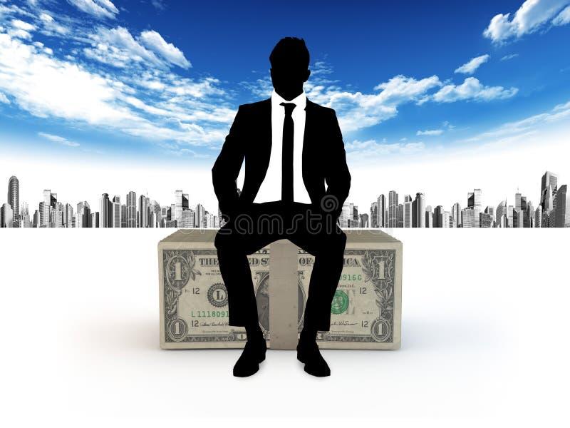 Affärsman och dollar stock illustrationer