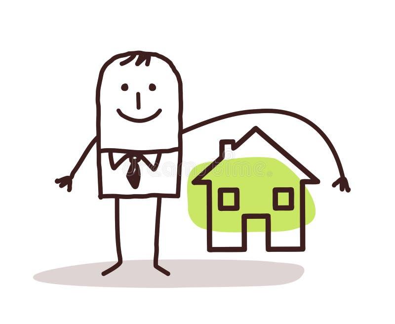 Affärsman- och husförsäkring royaltyfri illustrationer