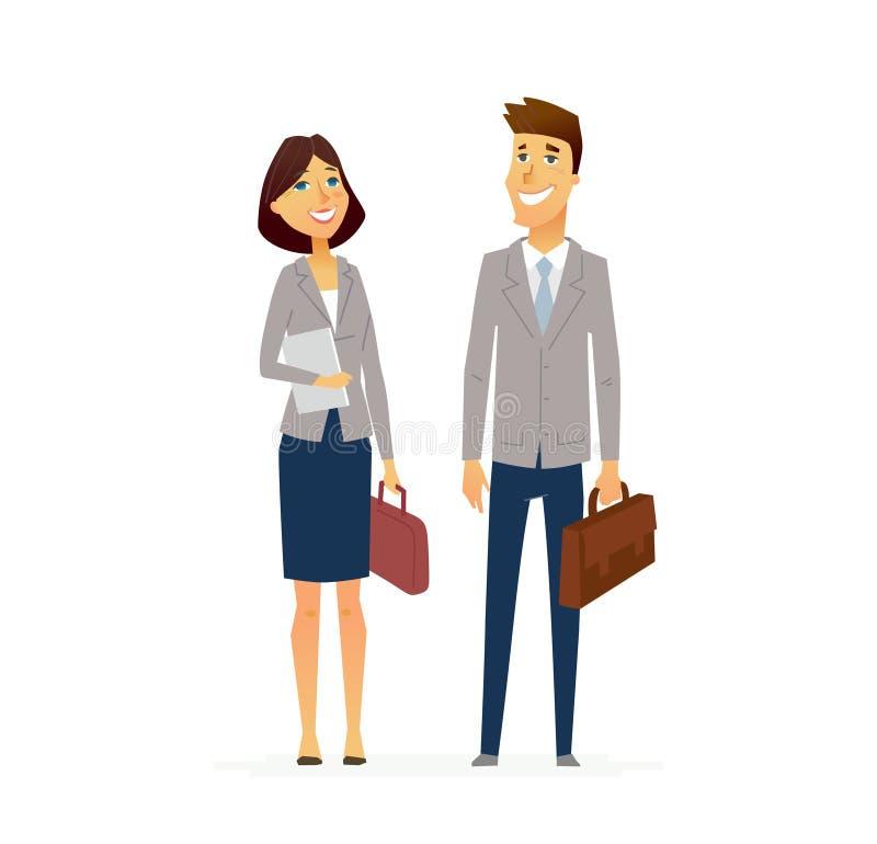Affärsman och kvinna - modern plan sammansättning för designfolktecken stock illustrationer