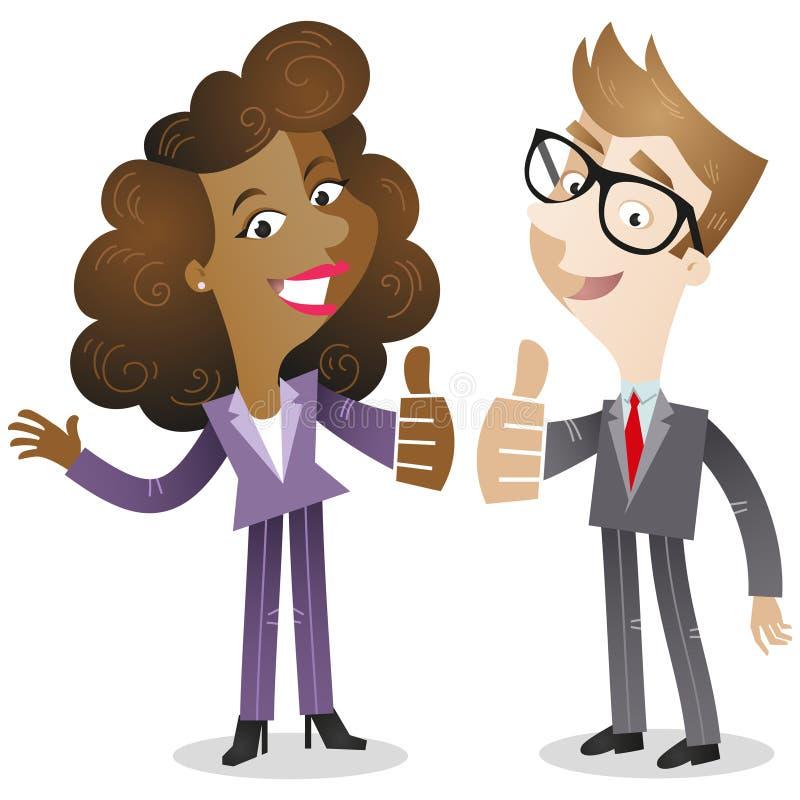 Affärsman och kvinna som ger upp tummarna stock illustrationer