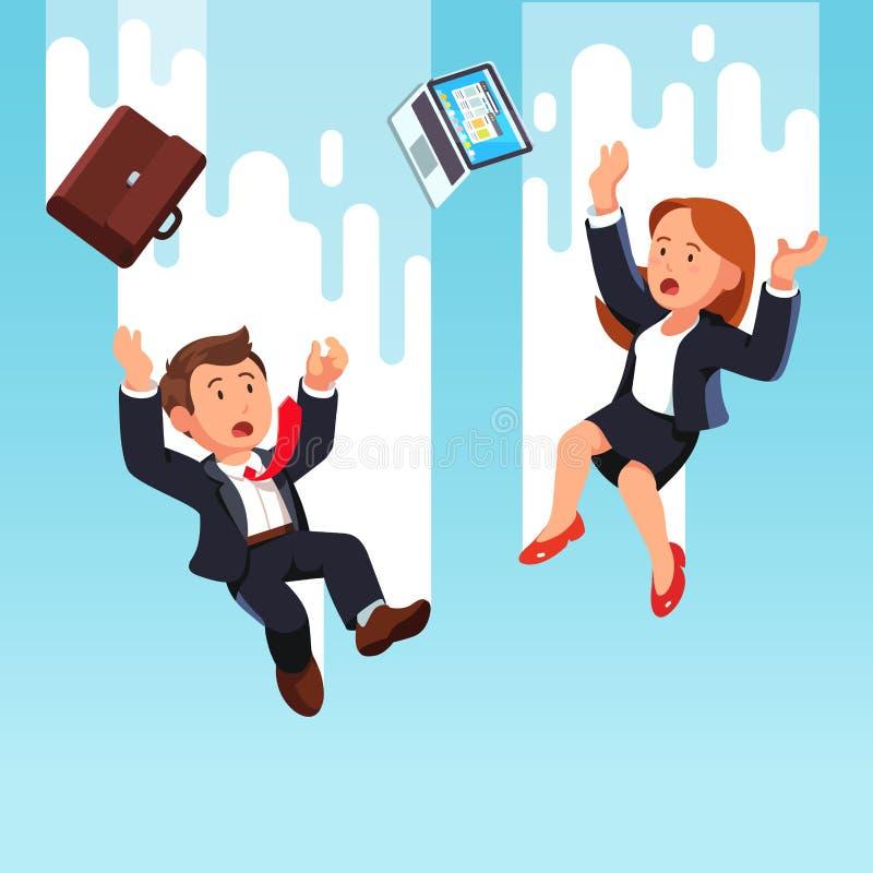 Affärsman och kvinna som ner faller från himlen vektor illustrationer