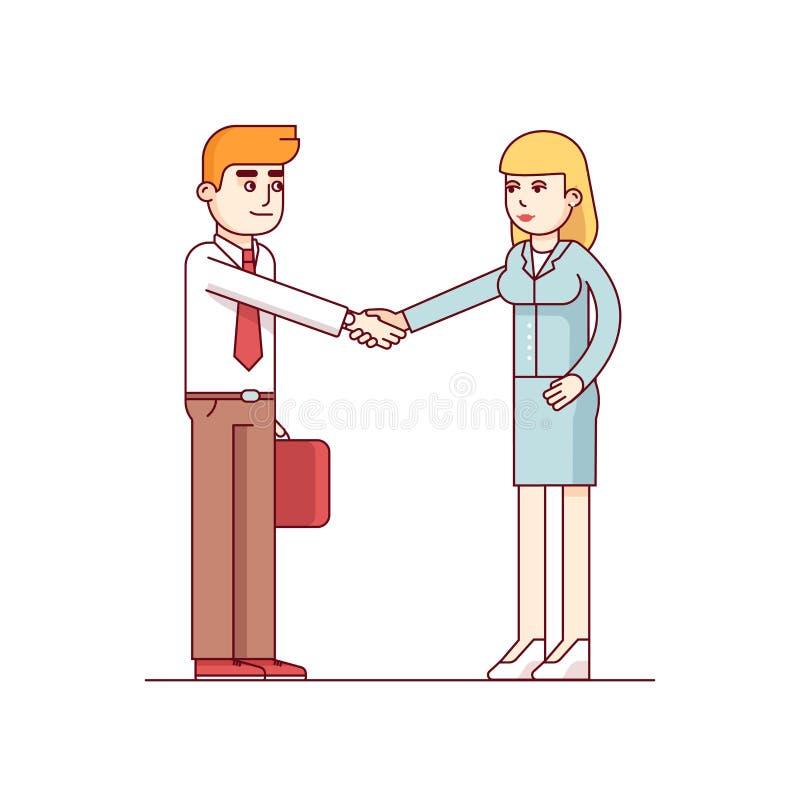 Affärsman och kvinna som skakar händer royaltyfri illustrationer