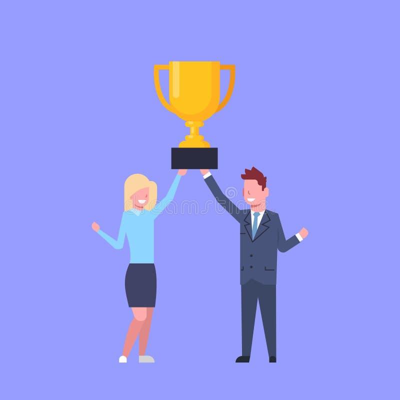 Affärsman och kvinna som tillsammans rymmer den lyckade affärsmannen And Businesswoman Team Winners för guld- kopp royaltyfri illustrationer
