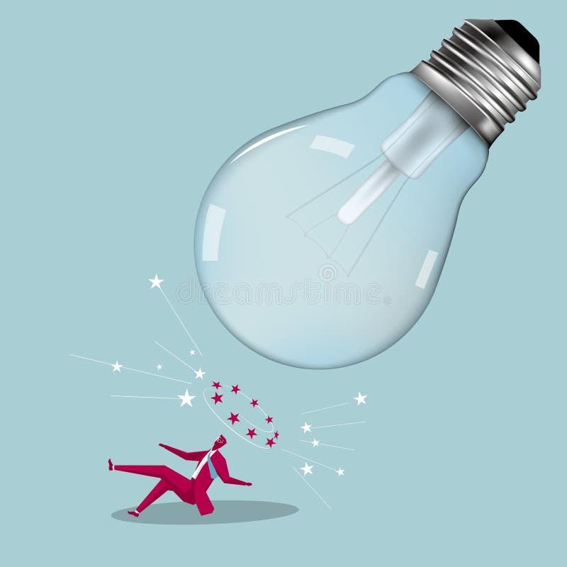 Affärsman och ljus kula stock illustrationer