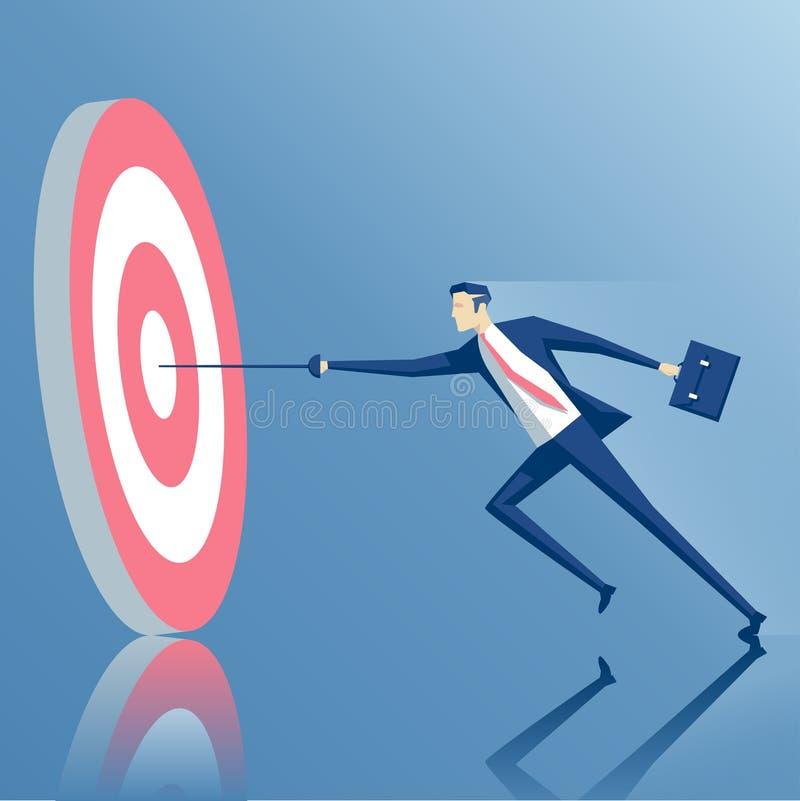 Affärsman och mål vektor illustrationer