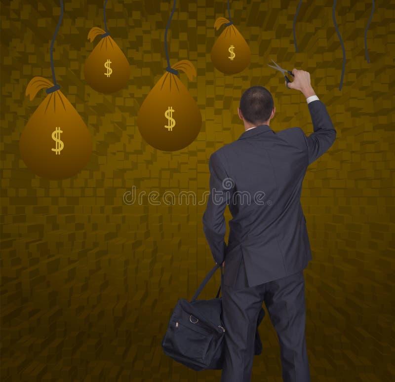Affärsman och påsar av pengar royaltyfria bilder